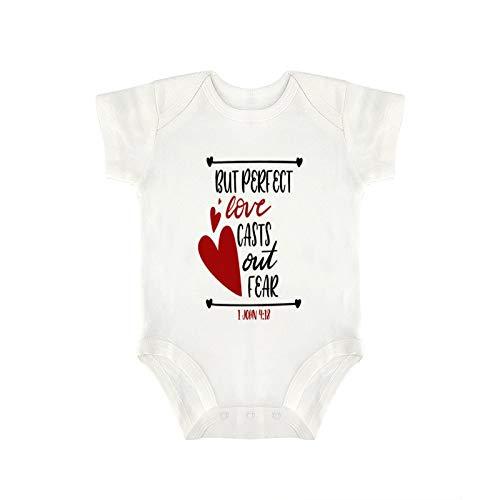 DKISEE Mono de bebé con texto en inglés «Funny but Perfect Love saca el miedo» para bebé y niña de 3 meses