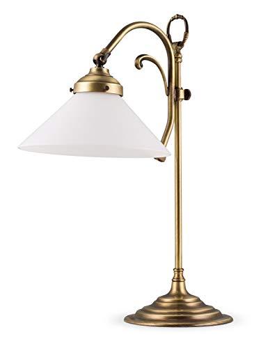 Helios Leuchten 403781 nostalgische Retro Tischleuchte | vintage Tischlampe Schreibtischlampe | Lampe Leuchte echt Messing antik | Leselampe Opalglas weiss | Jugendstil Messinglampe