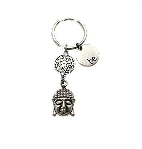 'Be' and Buddha Head Charms Keychain, Inspirational Spiritual Meditation Gift