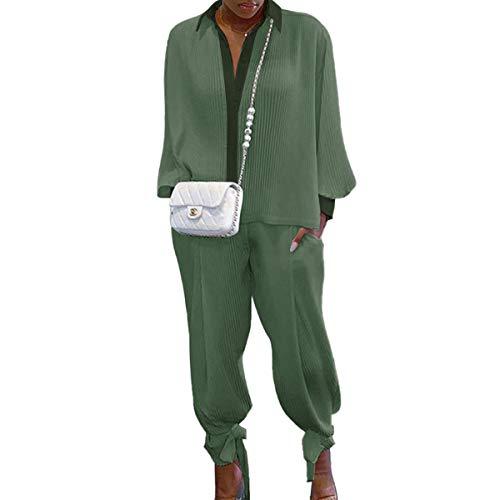 Siyova 2 Pezzi Completo da Donna Elegante Camicia a Maniche Lunghe con Risvolto a Coste Tinta Unita+Pantaloni Lunghi Abiti Donna Casual Autunnali Primaverili Tuta Leggero (Verde, M)