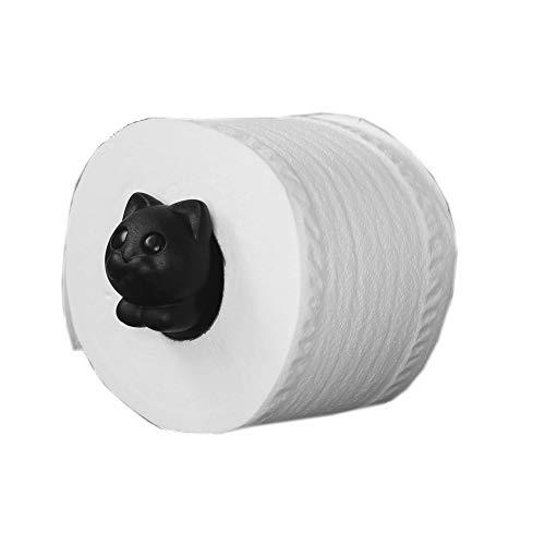 Qualy Roll Meo - Porta carta igienica 13,7 x 5,3 x 3,8 cm Nero