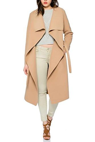 Kendindza - Cappotto trench da donna con cintura, taglia unica, lungo e corto cammello lungo. Taglia unica