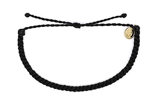 Pura Vida Mini Braided Black Beaded Bracelet - Silver Plated Charm, Adjustable Band
