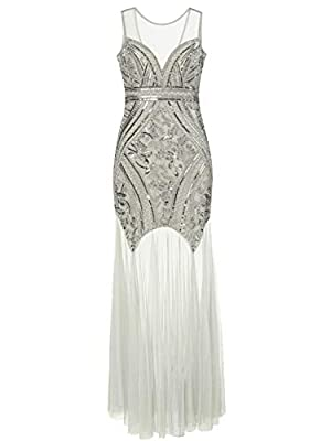 KILOLONE Women 's 1920s Sequins Beaded Dress Art Deco Gatsby Maxi Long Evening Prom Dress