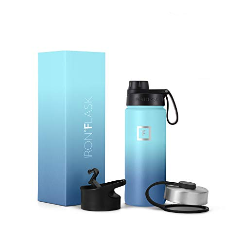 IRON °FLASK Sports Water Bottle, 3 Lids (Spout Lid), Vacuum Insulated Stainless Steel, Hot & Cold [Blue Waves] [530 ml]