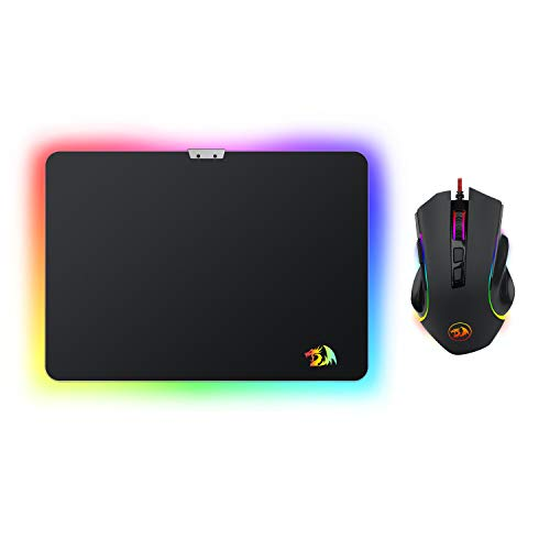 Redragon M602-BA Gaming Mouse and Mouse Pad Combo, Wired RGB Backlit, Ergonomic Mouse Griffin with 7 Backlight Modes, 7200 DPI & Large Mouse Pad for Windows PC Gamer (Black Mouse & Mousepad Set)