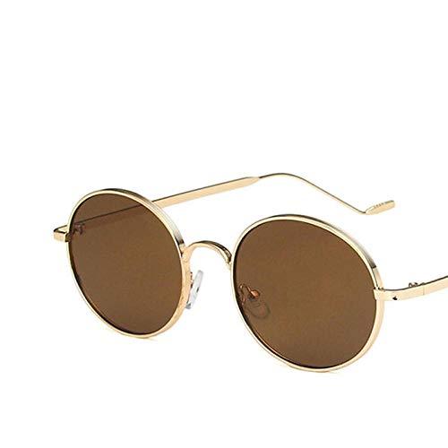 DLSM Gafas de Sol Redondas Mujeres Oval Vintage Gafas de Sol Mujeres Gafas de Sol para Mujer Retro Adecuado para Fiesta de Playa Conducción Gafas de Sol Golf-Goldtea