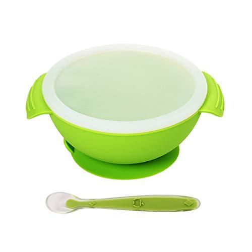 DEBAIJIA Ciotola Pappa per Bambini di Silicone con Ventosa Antiscivolo e Cucchiaio Coordinato Facilmente pulire Tazza di Aspirazione della Ciotola Piatti Set approvati dalla FDA privo di BPA