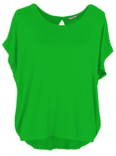 Emma & Giovanni Damen Basic Sommer T-Shirt/Oberteile Kurzarm, Grün, Gr.- DE 36-38 (Herstelleretikett M)