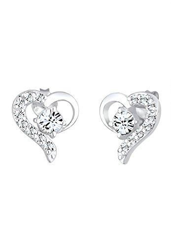 Elli Damen Ohrringe Herz Symbol Liebe mit Swarovski Kristallen in 925 Sterling Silber