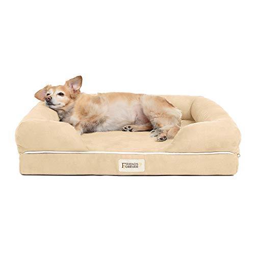 Divano letto ortopedico per cani – 100% pelle scamosciata sfoderabile – Materasso in memory foam Premium Prestige Edition – Letto per cani di taglia grande