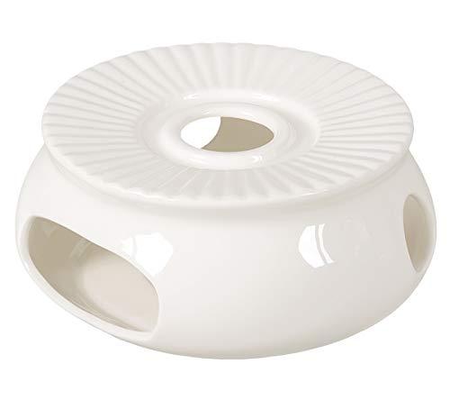 Aricola - Scaldavivande in porcellana/teiera, Ø 14,5 cm, colore: Bianco