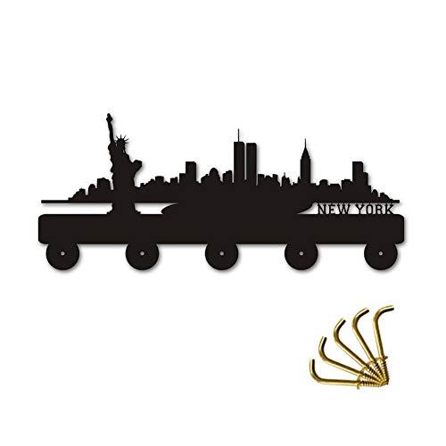 Perchero Pared New York Silihouette ropa de madera sombrero llave gancho / perchero / gancho de pared decoración del hogar moderno pegatinas de pared baño de cocina toalla gancho, Negro (Largo: 30cm)