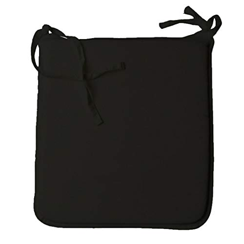 MA ONLINE Polycotton Flat Plain Chair Seat Pads Cushions With Foam Garden Dinning Zipped Cover Seat Pads With Ties Black 37cm x 42cm
