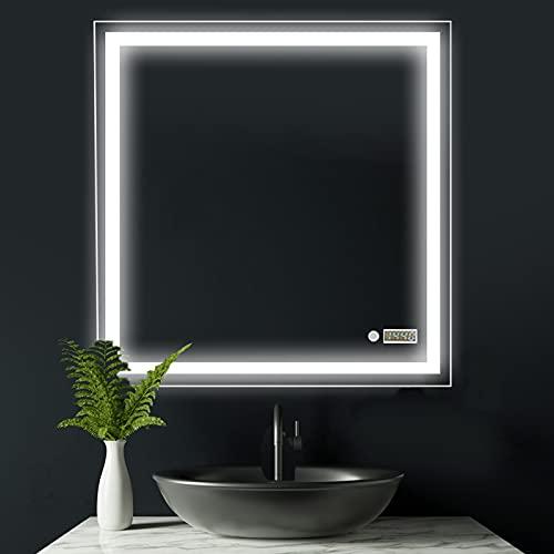 Espejo de baño Cuadrado Modelo Atenas Plus de 80x80 cm con luz LED Frontal Superior de 28.5W, botón Touch y Reloj Digital Integrado. Luz Blanca Muy Potente (5700 K). Espejo Ideal para baños.