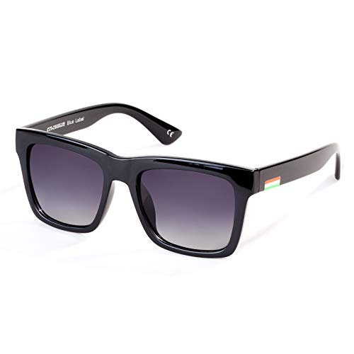 Colossein Classic Polarized Sunglasses For Men Retro Square Frame Mirrored Lens, UV400(Gradient Grey Lens/Black Frame)