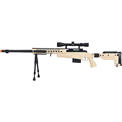 Lancer Tactical WellFire MB4418-3 Bolt Action Airsoft Sniper Rifle with Scope and Bipod TAN 380 FPS