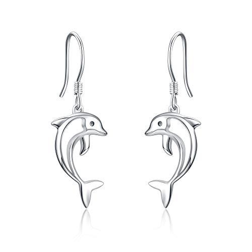Pendientes de plata de ley con delfines Joyas hipoalergénicas para su oreja colgante Regalo de vacaciones para mujer novia