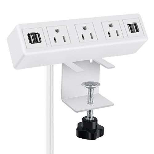 3 AC Outlet Desk Clamp Power Strip White, Desk Mount USB Charging Power Station, Removable Desktop Edge Power Center Plugs Output 125V 60HZ 12A 1500W, USB 5V 4A 6.56FT Cable