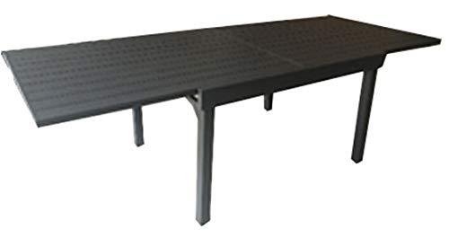 PEGANE Table de Jardin Extensible en Aluminium Gris Anthracite - Dim : H.76 x L.230-200 x P.105 cm