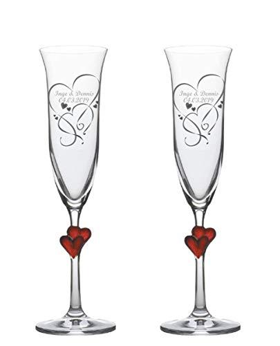 Sekt-Champagner-Gläser, Sektkelche L'Amour, graviert, 2er Set personalisiert-e Gravur, ein persönliches Geschenk zur Hochzeit, Jahrestag, Valentinstag