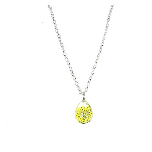 JINGGEGE Jengijo Collar de Mujeres Diente de león Bola de Cristal Colgante Collar Charm Trendy Natural Dandelion Colgante Transparente Lucky Wish Glass Ball (Metal Color : 3)
