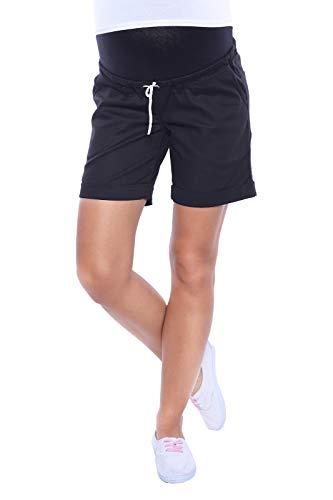 MijaCulture Kurze Jeans Umstandsshorts Umstandshose mit Bauchband für Sommer 4122 (M / EU38, Schwarz)