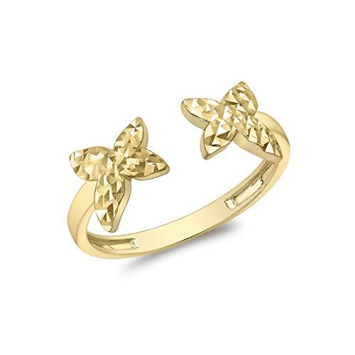 Carissima Gold Anillo Abierto con Mariposas (Corte de Diamante) para Mujer de Oro Amarillo 9K (375) - Talla 13.5