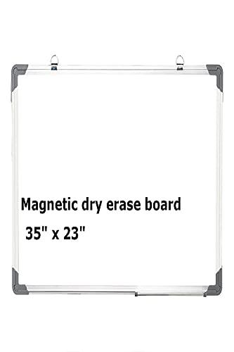 Pizarra blanca magnética para pared 60 x 40 cm, con 1 rotulador, 2 imanes y 1 borrador de borrado en seco para niños, estudiante, dibujo, hogar, oficina