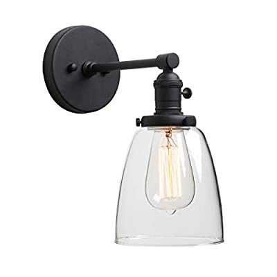 Phansthy Industrial Wall Sconce Light 1-Light Black Sconce with 5.5 Inches Dome Clear Glass Shade