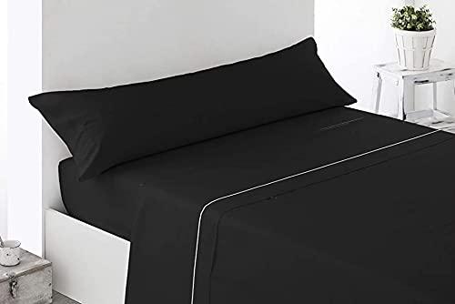 DESING-Textil: Juego sábanas Verano 3 Piezas Negra Lisa. (Negro, 150x190-200cm)
