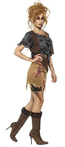 SMIFFYS Costume deluxe cacciatrice di zombie, Marrone, con vestito, gilè stampato, top,