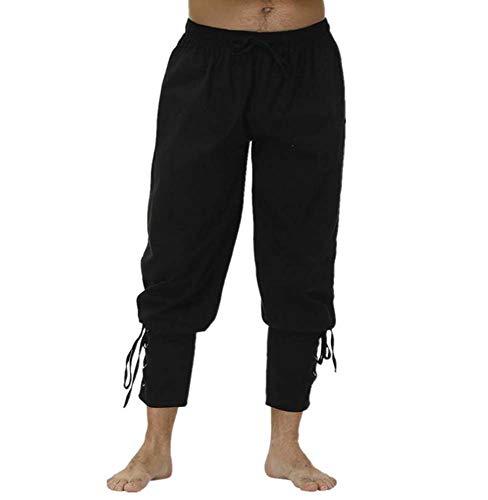 huateng Hombres Medieval Renacimiento Pantalones de Tobillo Pirata Cosplay Pantalones de Banda