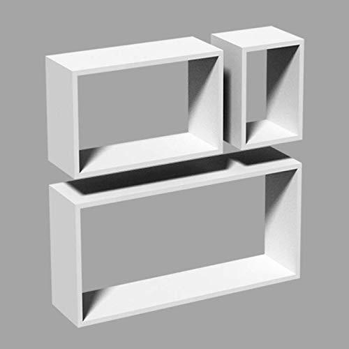 Velano - Wand-Regal-Set, Modulfächer, Regalsysteme, Hängeregale - FRS 600/380/170 - weiß