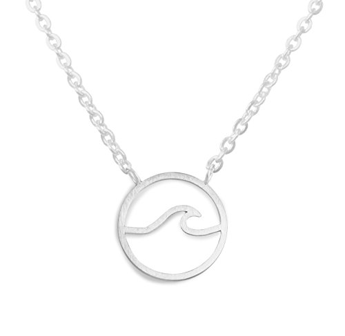 Altitude Boutique Einfache Ocean Wave Halskette Surfen Sea Surfer Hawaii-Kreis-Strand-Schmuck (Gold,) (Silber) Silber