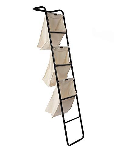 ABOUT YOU Wäschekorb 'Air Brush' mit 3 einzelnen Wäschesäcken, 4 Stangen für Handtücher und Wäsche, Design Leiter für Handtücher und Wäsche, Wäschesäcke abnehmbar, Premium Design