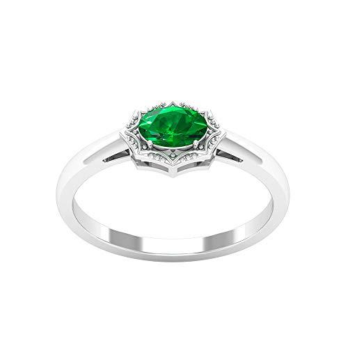 Anillo de boda de oro esmeralda de 0,52 ct, minimalista con cuentas grabadas, certificado SGL, forma ovalada, anillo de promesa de aniversario, 14K Oro rosa, Size:EU 44