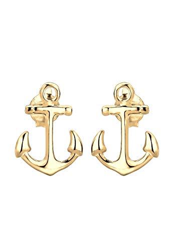Elli Ohrringe Damen Anker Maritim Sailor Filigran in 925 Sterling Silber vergoldet