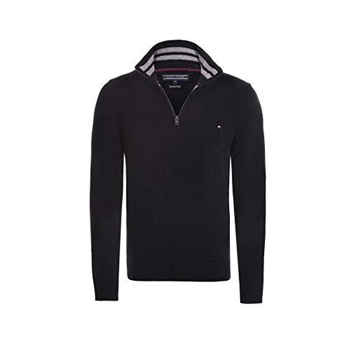 Tommy Hilfiger Jersey con Cuello Zip (S, Black)