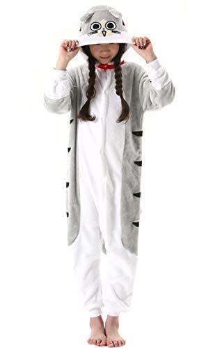Pijama Animal Entero Unisex para Niños con Capucha Cosplay Pyjamas Ropa de Dormir Traje de Disfraz para Festival de Carnaval Halloween Navidad Atigrado Gato para Altura 90-148cm
