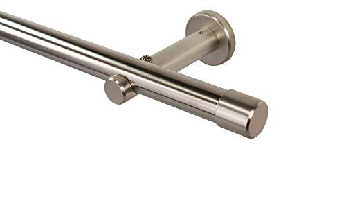 iso-design Gardinenstange 20 mm Farbe Edelstahl, Endstück Kappe, 280 cm (2 x 140 cm)