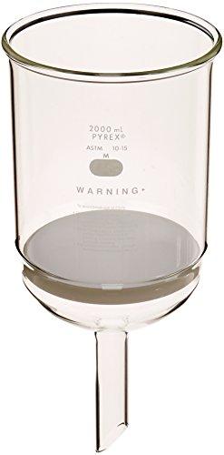 Corning Pyrex Borosilicate Glass Buchner Funnels with Medium Porosity Fritted Disc, 127mm Disc Diameter, 2000ml Capacity (Case of 2)