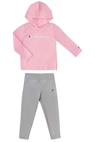 Champion Little Girls Legging Sets with Fleece and Jersey Hooded Tops Toddler and Little Girls Kids Clothes (Pink Candy/Oxford Heather Jersey Top, 6)