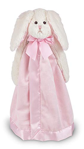 Bearington Baby Bunny Snuggler, Pink Rabbit Plush Stuffed Animal Security Blanket, Lovey 15'