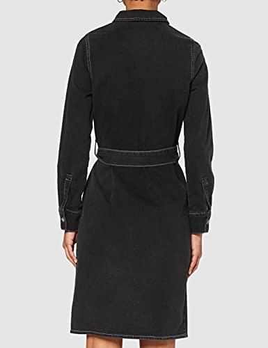 Marca Amazon - find. Vestido Vaquero Midi Camisero Mujer, Negro (WASHED BLACK), 42, Label: L