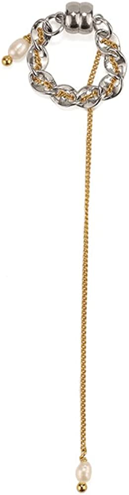 Kemstone Long Tassel Pearls Vintage Clip on Earring Gold Plated Jewelry Chain Link Earring Clip for Women