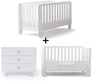 Oeuf Elephant Collection Complete Nursery in White with 3 Drawer Dresser