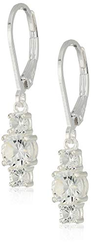 Sterling Silver Created White Sapphire 5mm and 3mm Three Stone April Birthstone Leverback Dangle Earrings