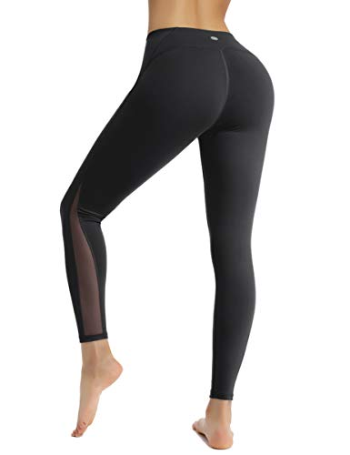 HAPYWER Sport Leggings mit Mesh Damen Sporthose Yogahose Laufhose Tights Fitnesshose Yoga Leggings für Damen (Schwarz, XL)