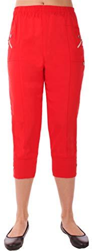 Preisvergleich Produktbild FASHION YOU WANT Damen große Größen Caprihose 7 / 8 Hose Elegante Stretchhose Übergröße Gr. 40 / 42 bis Gr 54 / 56 mit Elasthan und Knopfapplikationen Shorts Kurze Hose Sommer Hose (rot,  40 / 42)